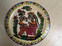 """Виріб Декоративна тарілка дерев'яна мальована """"Гуцульське кохання"""" авторська ручна робота д27.8см"""