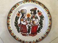 """Виріб Декоративна тарілка дерев'яна мальована """"Гуцульські музики"""" авторська ручна робота д27.3см"""