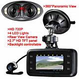Автомобильный видеорегистратор 360' DVR H-6000 С камерой заднего вида, фото 2
