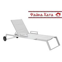 Шезлонг/лежак стационарный на колесах, серый, фото 1