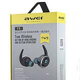 Спортивные вакуумные блютуз наушники беспроводные AWEI T-1 Twins Earphones Bluetooth затычки, фото 7