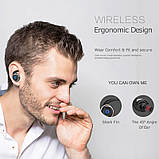 Спортивные вакуумные блютуз наушники беспроводные AWEI T-1 Twins Earphones Bluetooth затычки, фото 9