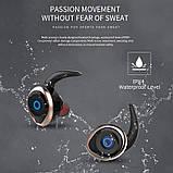 Спортивные вакуумные блютуз наушники беспроводные AWEI T-1 Twins Earphones Bluetooth затычки, фото 10