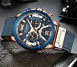 Годинник Curren RUNNING wach Blue-Gold з хронографом стильні годинники, фото 2