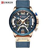 Годинник Curren RUNNING wach Blue-Gold з хронографом стильні годинники, фото 3