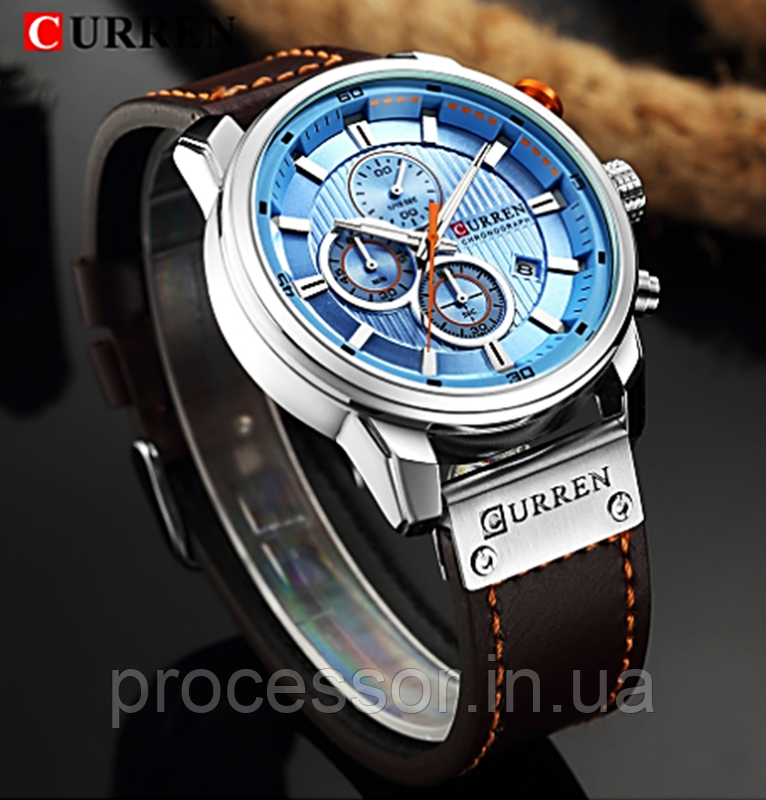 Водонепроникні Годинники Curren 8291 з хронографом Топ бренд класу люкс