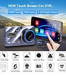 """Відеореєстратор для автомобіля Globus+ Full HD 4"""" LCD WDR Premium Class з виносною камерою заднього виду, фото 9"""