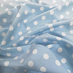 Ткань супер софт принт белый горох 1см на голубом