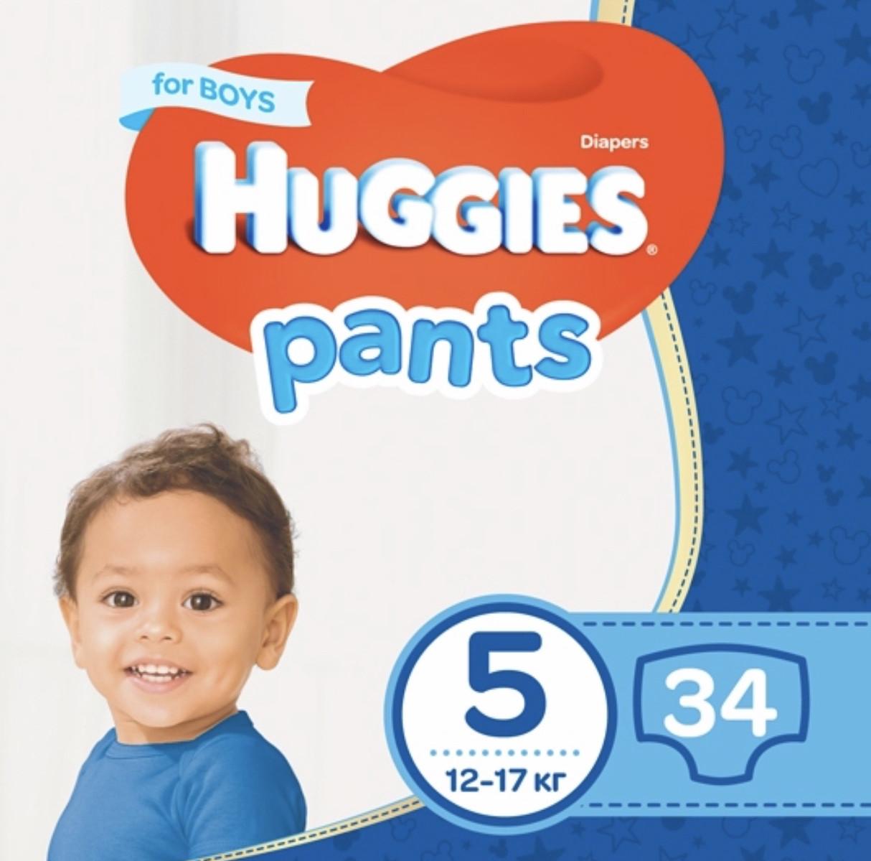 Подгузники-трусики Huggies Pants для мальчиков 5 (12-17 кг), 34 шт