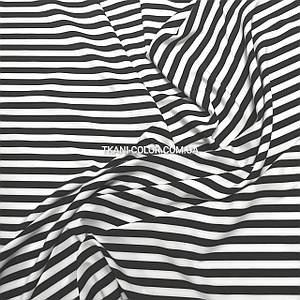 Ткань супер софт принт полоска черная с белой 1 см