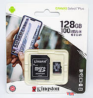 Карта памяти Kingston microSDXC 128Gb Canvas Select Plus class 10 A1 (R-100MB/s) + Adapter, фото 1
