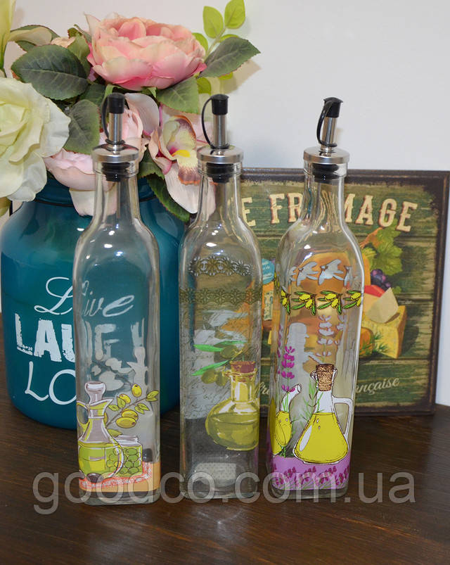 Стеклянная бутылка для масла и уксуса (550 мл.)