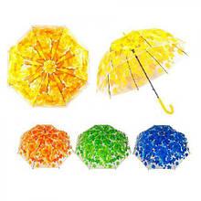 Зонт-трость полуавтомат листья 60см 8сп