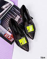 Элитная коллекция! Шикарные кожаные туфли женские с декором, фото 1