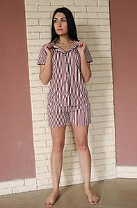 Костюмная летняя пижама из искусственного шелка розовая