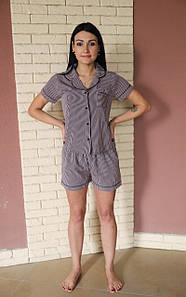 Костюмная летняя пижама из искусственного шелка серая