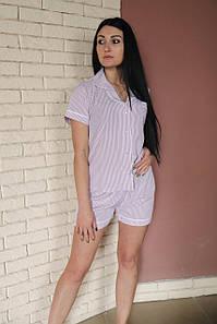 Костюмная летняя пижама из искусственного шелка светло-серая