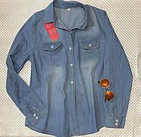 Женская джинсовая рубашка больших размеров, фото 1
