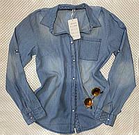 Женская джинсовая рубашка больших размеров