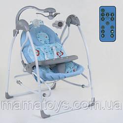 Детские Электронные качели СХ- 50570 JOY Голубой 3 в 1 качели, шезлонг, карусель, пульт д/у, от сети и батарее