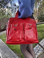Сумка из натуральной кожи Саквояж цвет красный, фото 1