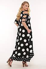 Платье ниже колена для полных черное в горох из льна, фото 2