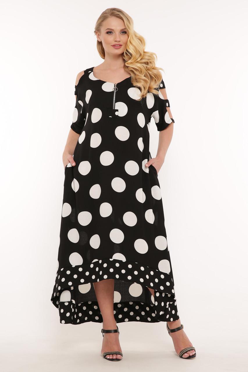 Платье ниже колена для полных черное в горох из льна