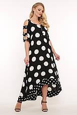 Платье ниже колена для полных черное в горох из льна, фото 3