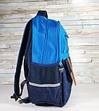 Детский ортопедический рюкзак с пеналом, школьный портфель ранец для мальчика 7-8-9 лет, синий-голубой, фото 5