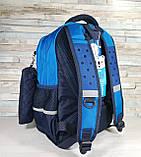 Детский ортопедический рюкзак с пеналом, школьный портфель ранец для мальчика 7-8-9 лет, синий-голубой, фото 9