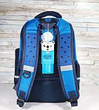 Детский ортопедический рюкзак с пеналом, школьный портфель ранец для мальчика 7-8-9 лет, синий-голубой, фото 8
