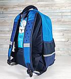 Детский ортопедический рюкзак с пеналом, школьный портфель ранец для мальчика 7-8-9 лет, синий-голубой, фото 7