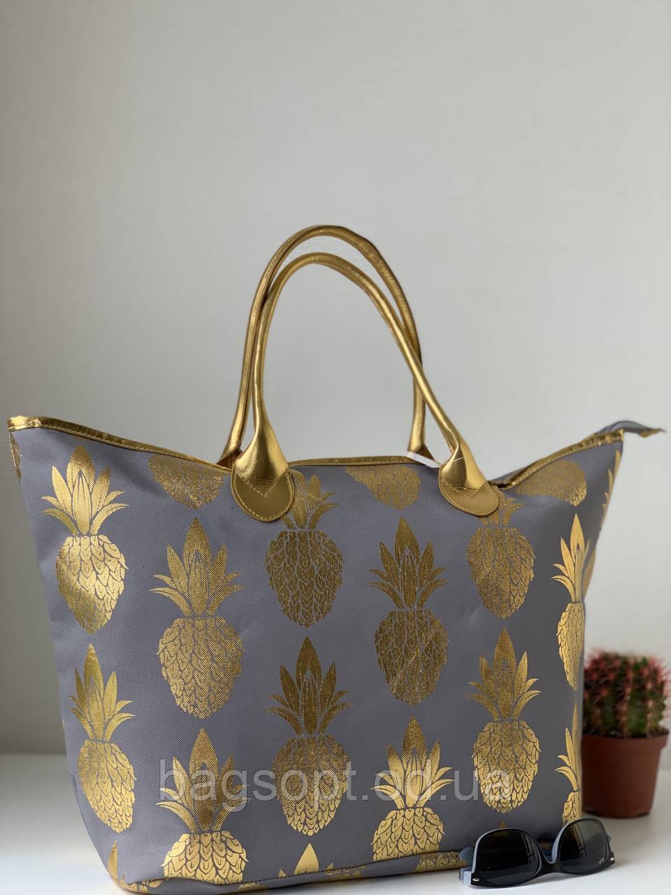 Летняя сумка шоппер большая тканевая пляжная городская с ананасами
