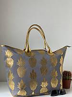 Летняя сумка шоппер большая тканевая пляжная городская с ананасами, фото 1