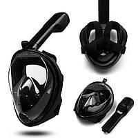 Повна маска для підводного плавання і дайвінгу снорклінга Tribord FREEBREATH на все обличчя S/M, L/XL Чорний