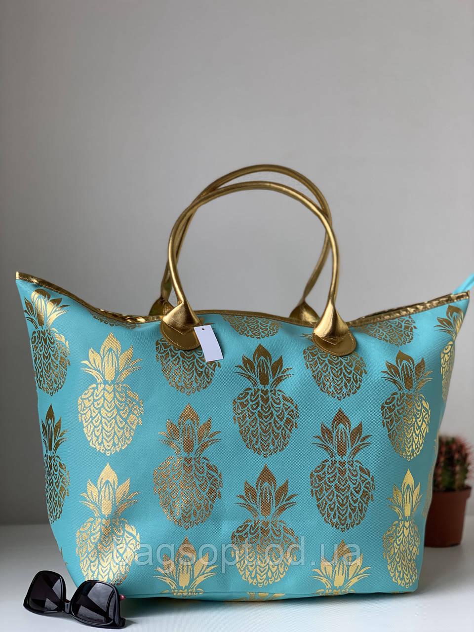 Большая тканевая пляжная сумка шоппер бирюзового цвета с узором ананас