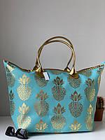 Большая тканевая пляжная сумка шоппер бирюзового цвета с узором ананас, фото 1