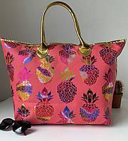 Жіноча пляжна сумка тканинна яскрава рожева з візерунком ананас, фото 1