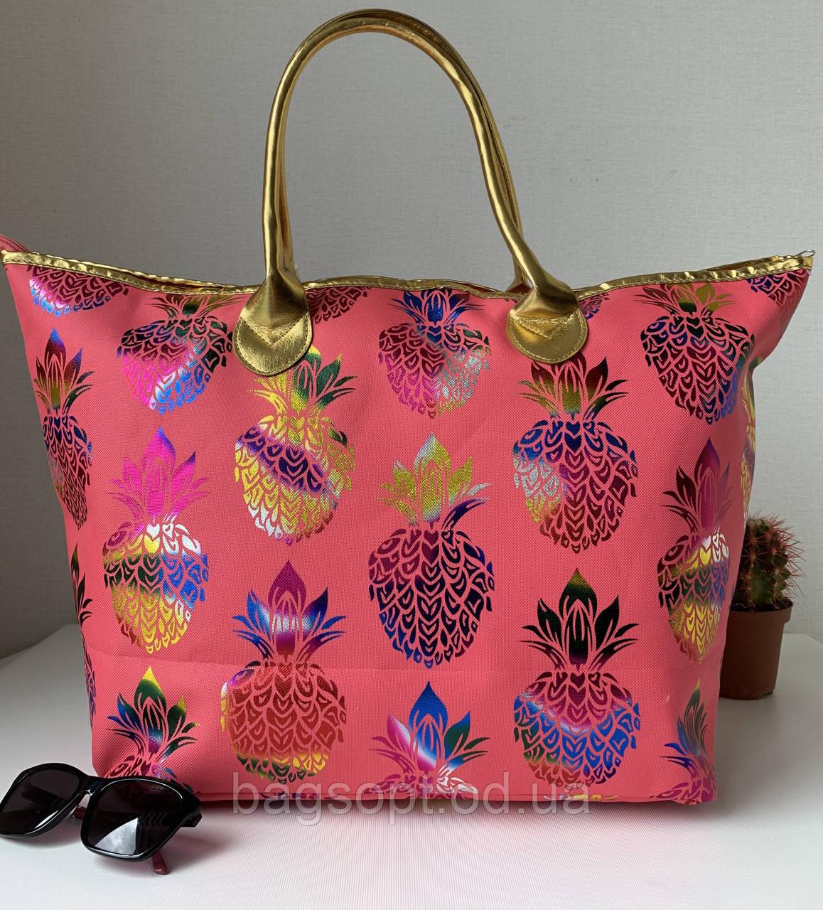 Жіноча пляжна сумка тканинна яскрава рожева з візерунком ананас