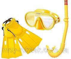 Набор для плавания: ласты, маска, трубка Intex 55655, от 8 лет, желтый