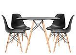 Стол обеденный Тауэр Вуд черный 100 см на буковых ножках круглый SDM Group (бесплатная доставка), фото 2