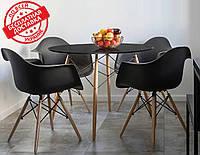 Стол обеденный Тауэр Вуд черный 100 см на буковых ножках круглый SDM Group (бесплатная доставка), фото 1
