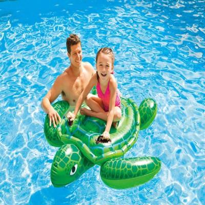 """Детский надувной плотик с ручками """"Морская Черепаха"""" для купания Intex 57524 NP (127*150 см), зелёный"""
