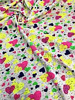 Ткань трикотаж сердечки разного цвета и разного размера ширина 180см 100% хб