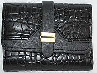 Кошелек женский мини 1266 кожа-PU черный аллигатор