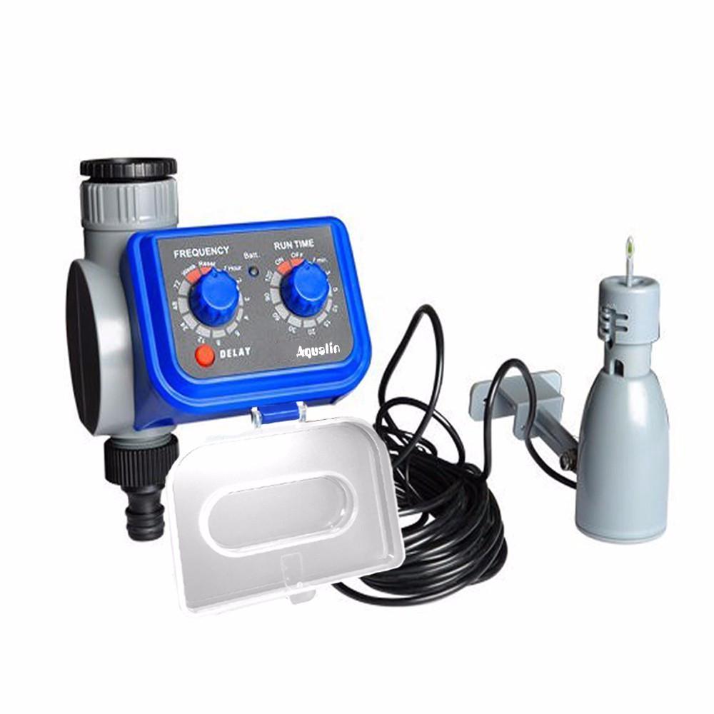 Таймер полива AQUALIN 21003 с электромагнитным клапаном, функцией задержки и датчиком дождя 21103