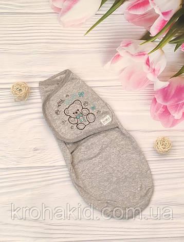 Детская пеленка кокон на липучке ( интерлок) для новорожденного, фото 2