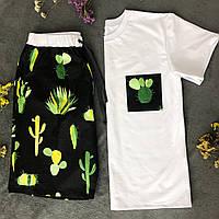 Мужская пижама Pijama po fanu шорты и футболка Кактусы 46 48 50 52 54 56 58 (S M L XL 2XL 3XL 4XL)