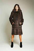 """Шуба женская из натурального меха нутрии """"Переход1"""", коричневая р.42-56 длина 105см"""