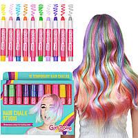 Цветные карандаши мелки для волос GirlZone Hair Chalk Set For Girls качество супер яркие волосы